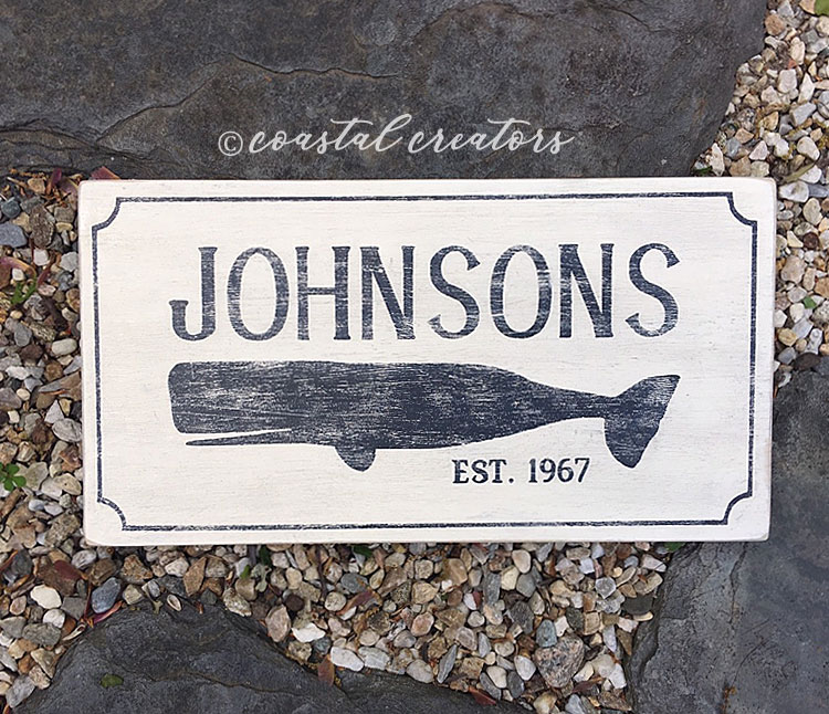 New England Antique Rustic Whale Circa House Wood Sign
