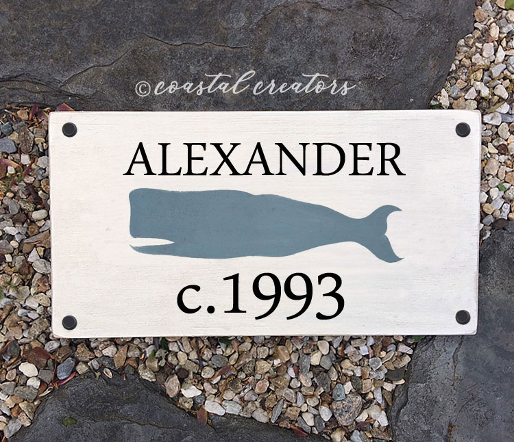 Personalized New England Whale Wood House Sign