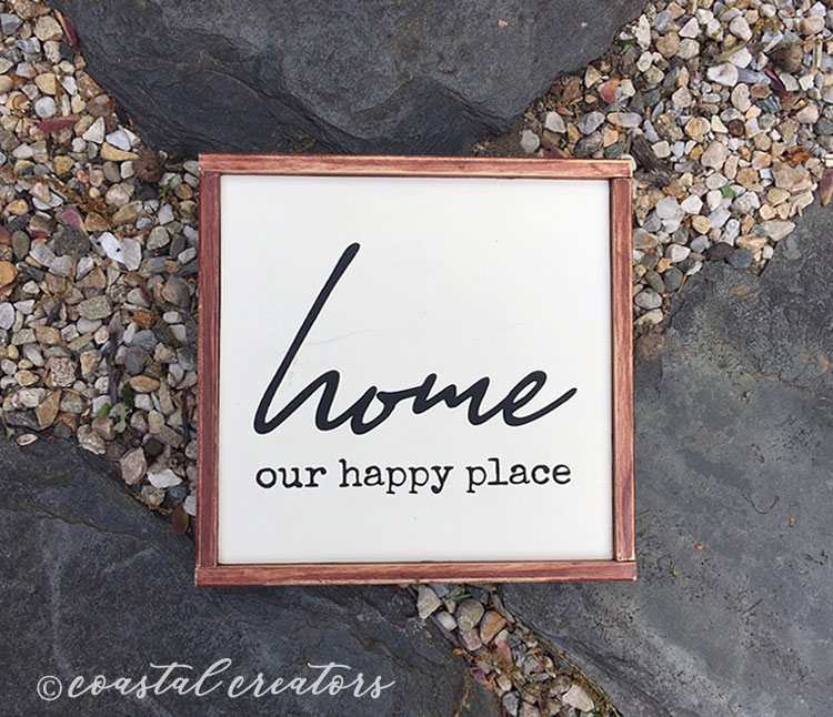 """Home """"Our Happy Place"""" Wood Sign"""