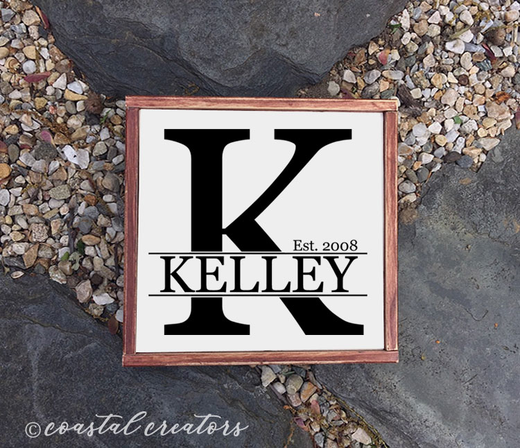 "Personalized ""Split Letter"" Name Wood Sign"