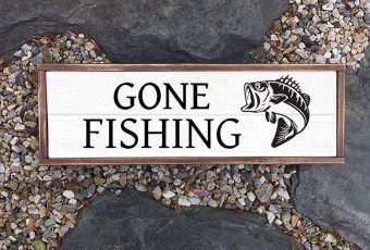 Gone Fish Shiplap Wood Sign