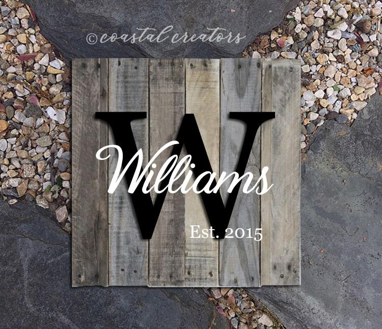 Monogram Rustic Palette Wood Sign