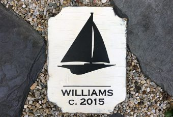 Antiqued Personalized Nautical Sailboat House Wood Plaque with Circa Date