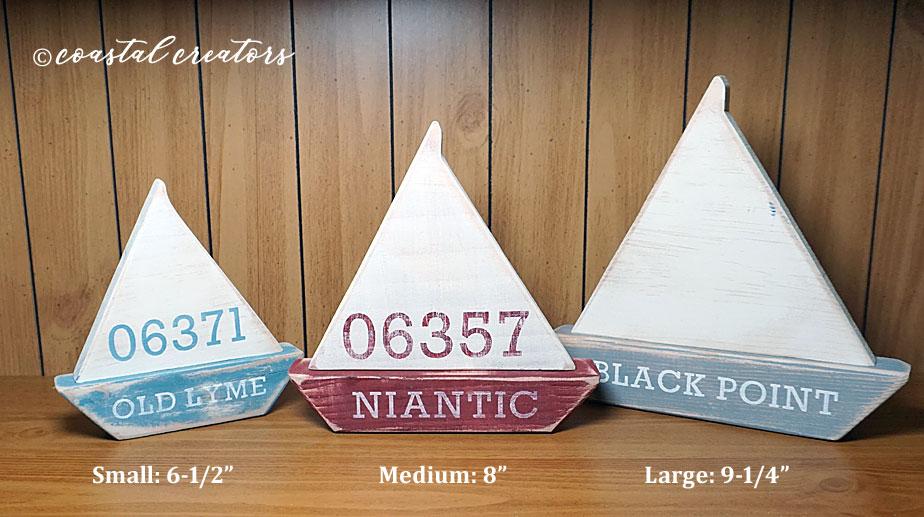 Personalized Handmade Nautical Wooden Sailboats