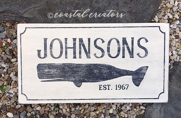 Personalized New England Whale Wood House Sign, Distressed, Antique