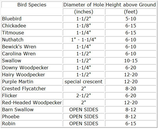 Birdhouses Size Reference Chart