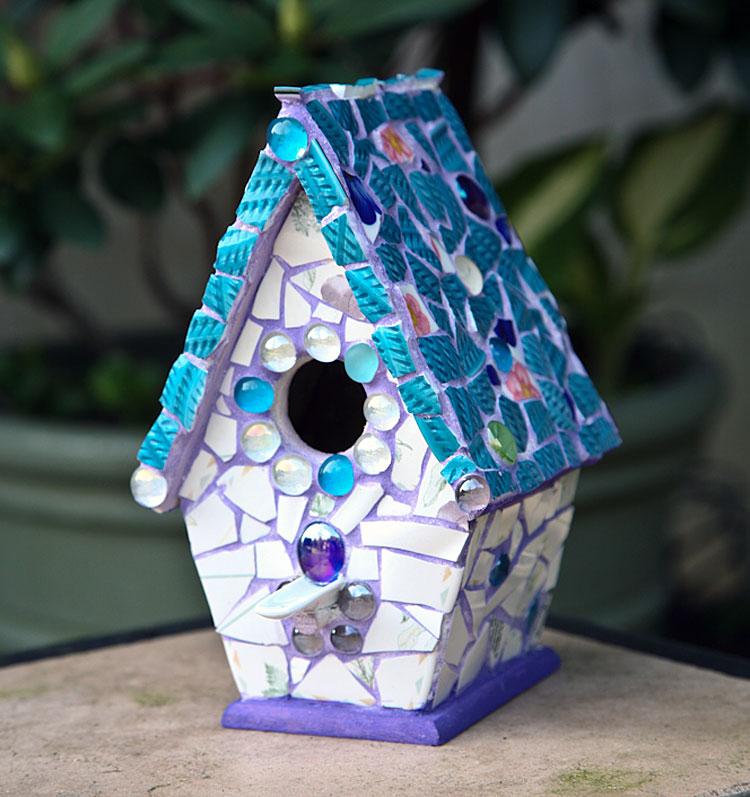 Blue Tile Mosaic Birdhouse