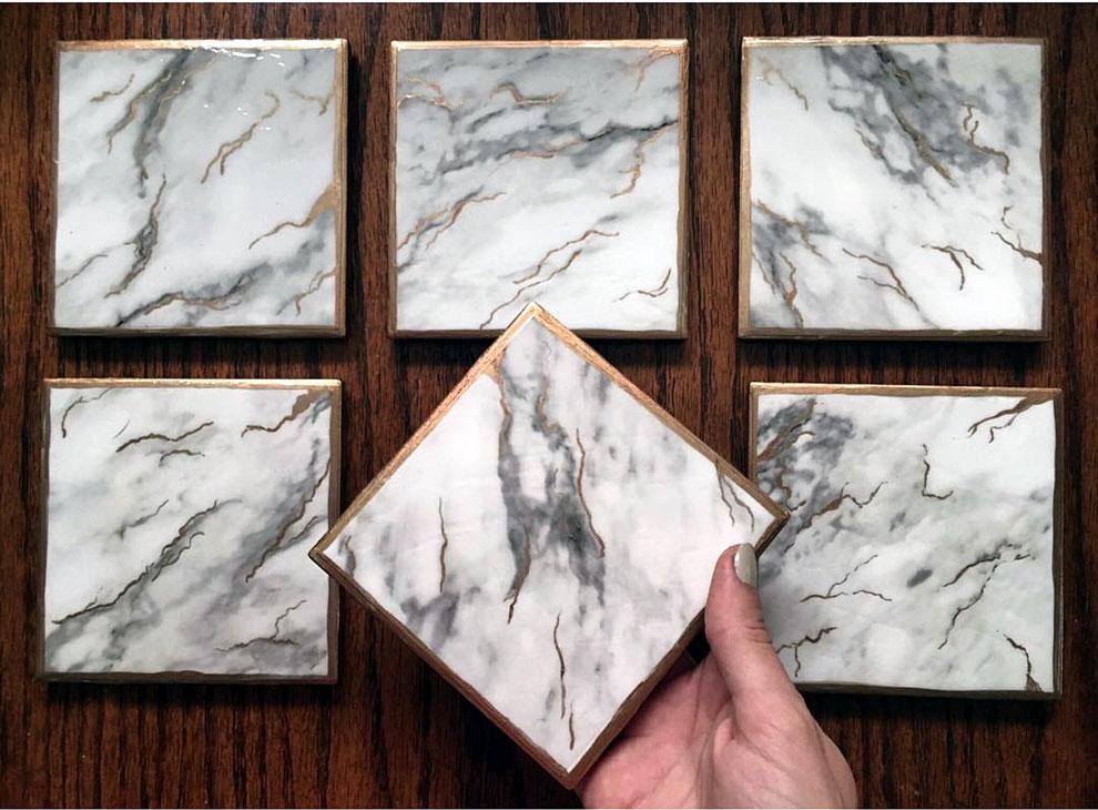 Sleek Marble Mod Podge Coasters