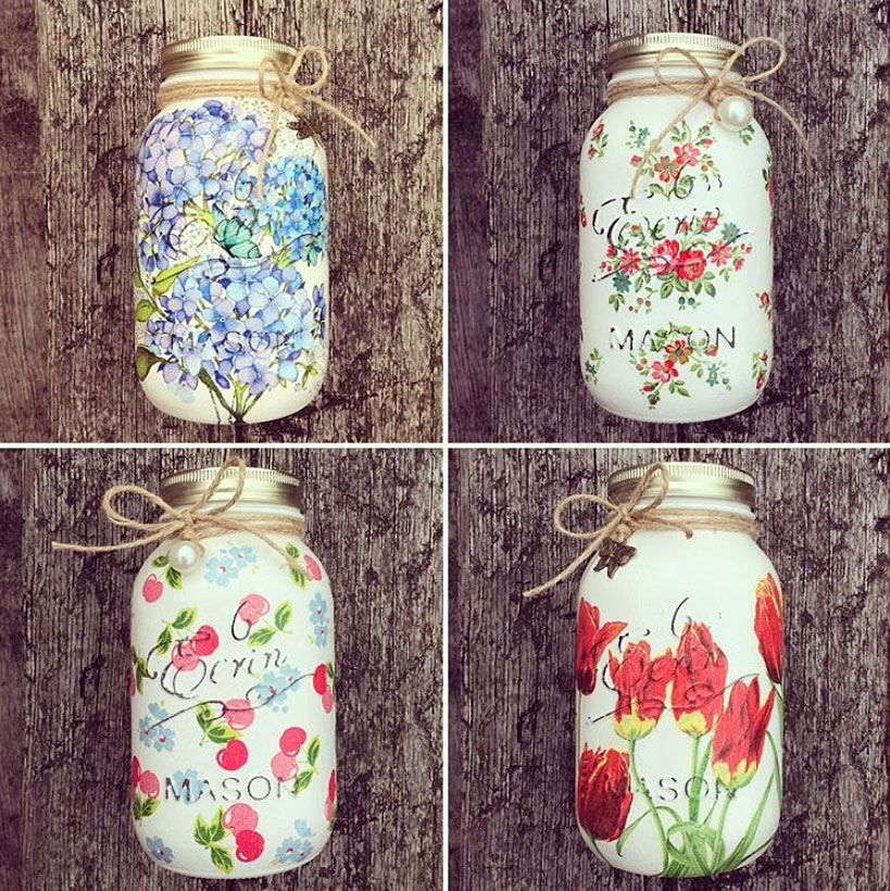 Mod Podge Flower Covered Mason Jars