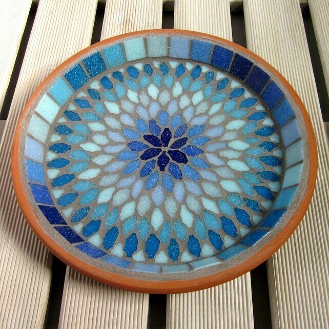 Gypsy Sky Mosaic Garden Bird Bath