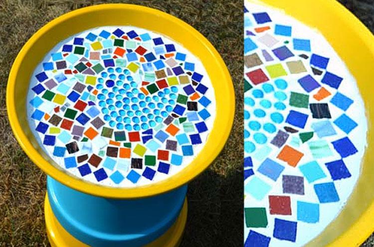 Blue Green Mosaic Birdbath