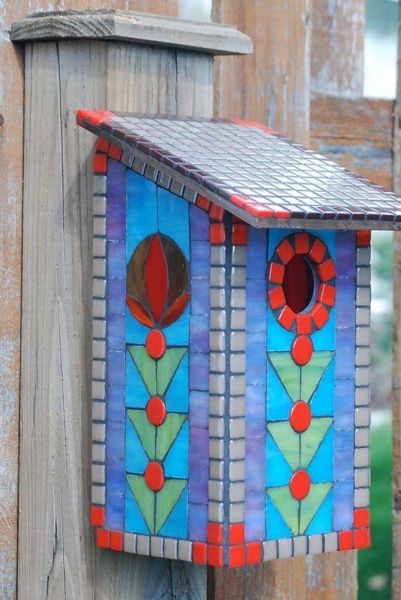 Stained Glass Red Blue Bird House