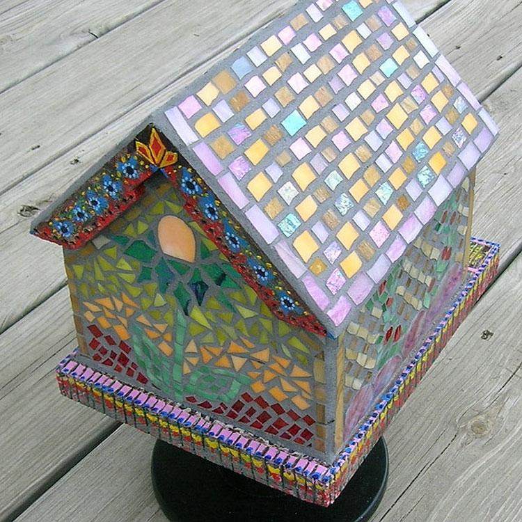 Broken China Mosaic Birdhouse