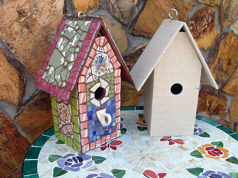 Build and Decorate a Broken China Mosaic Birdhouse