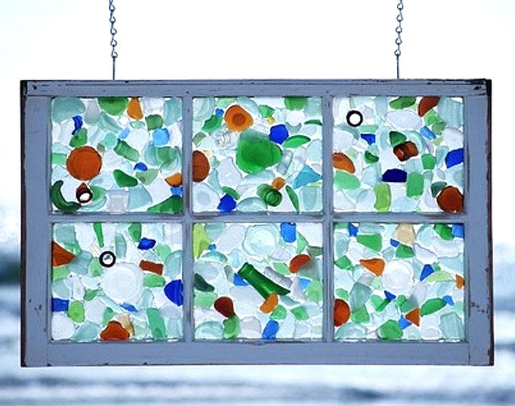 Sea Glass Hanging Window Frame