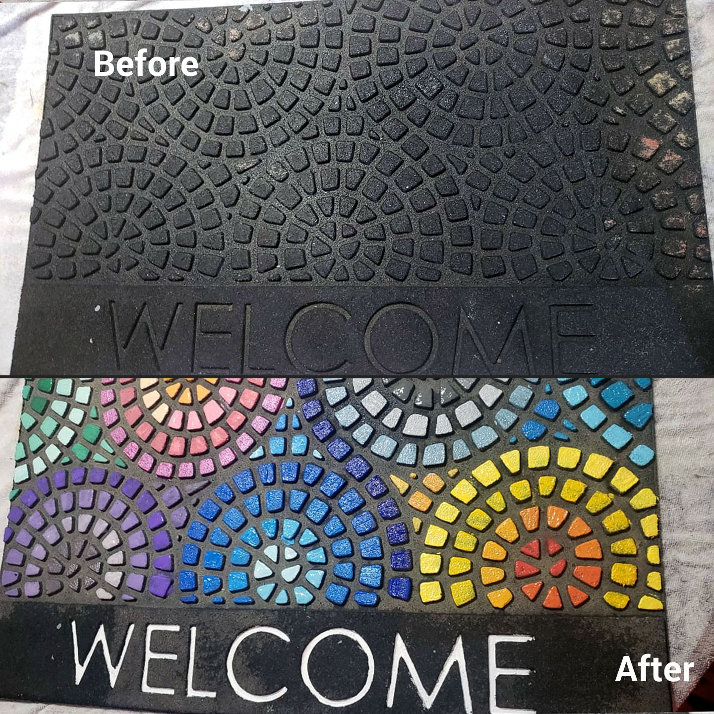 Upcycle an Ugly Old Outdoor Welcome DoorMat