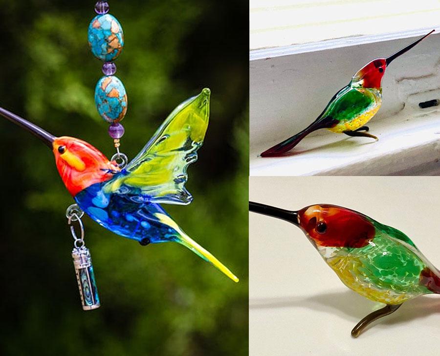 Glass Gardening Art Projects, Glass Hummingbirds