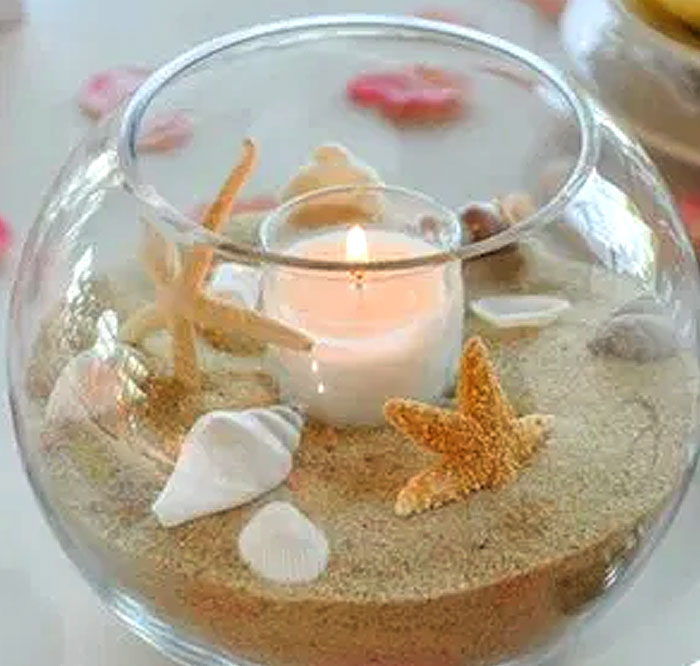 Round Beach Candle Fishbowl Centerpiece