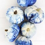 Coastal Blue Marble Painted Pumpkins