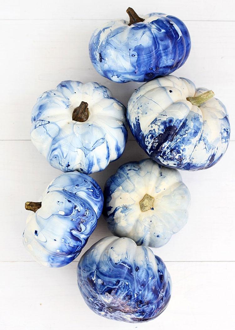 Coastal Blue Marble Painted Pumpkins