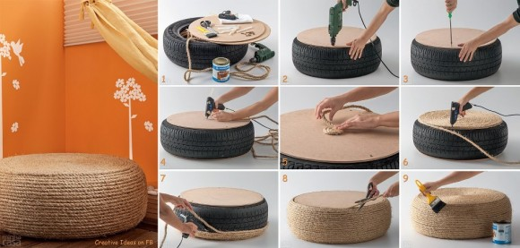 DIY Rope Cushion from an old tire