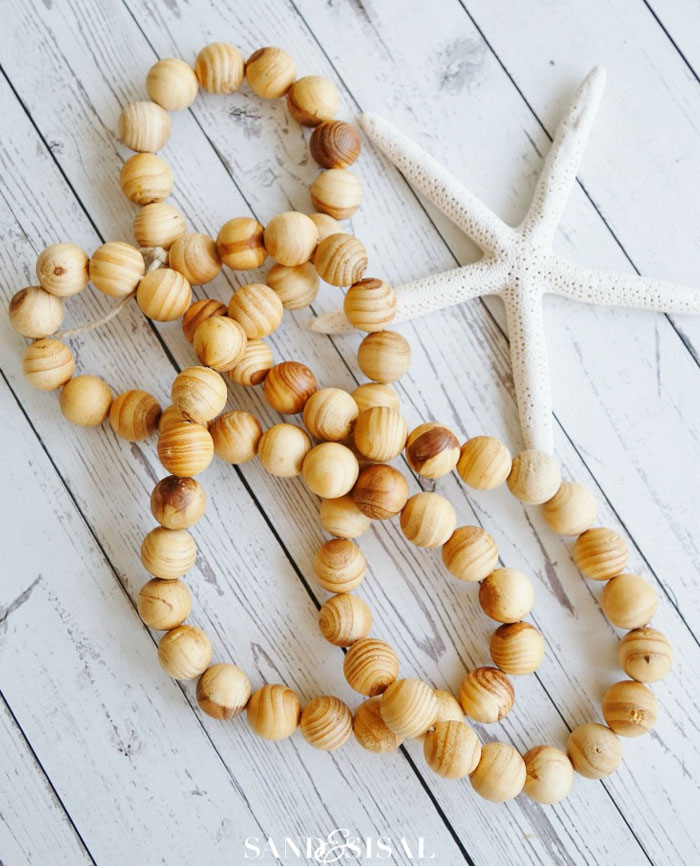 wood bead strands