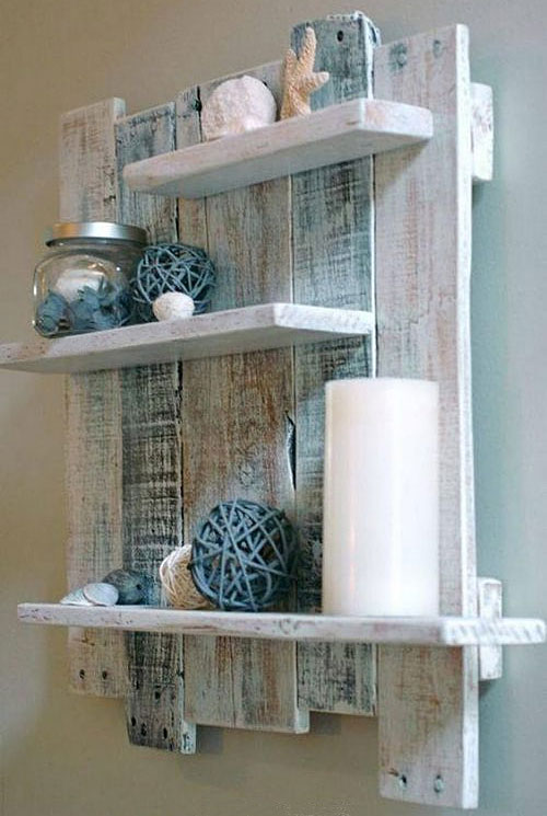 Coastal Wood Pallet Shelf