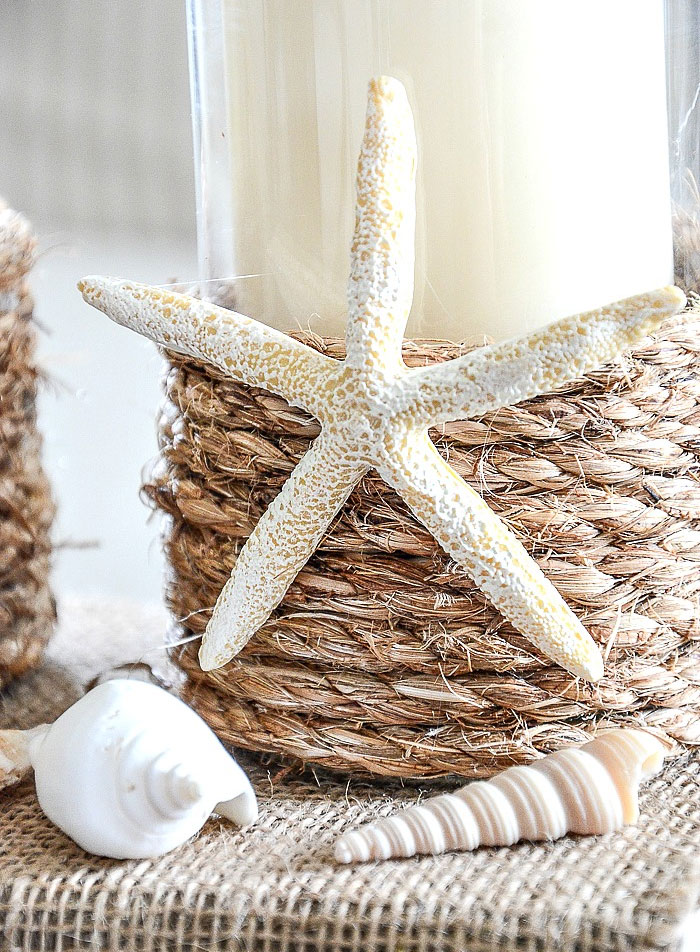 Pottery Barn Inspired Rope Wrapped Sand Dollar Candle holders