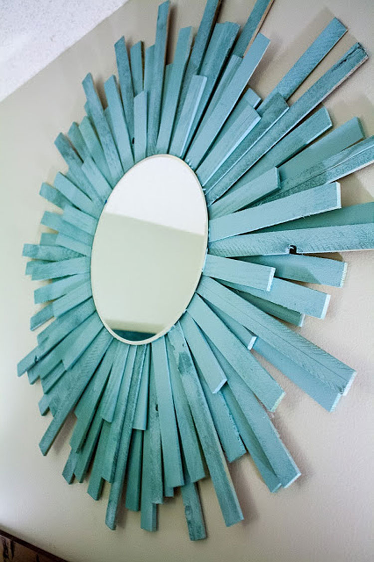 DIY Sea Blue Wood Starburst Mirror