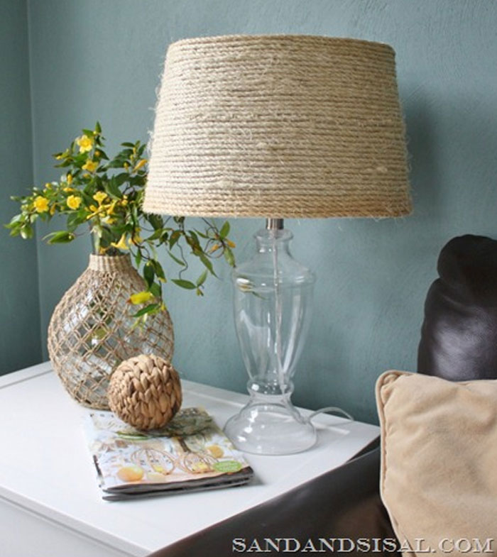 DIY Sisal Coastal Lamp Shade