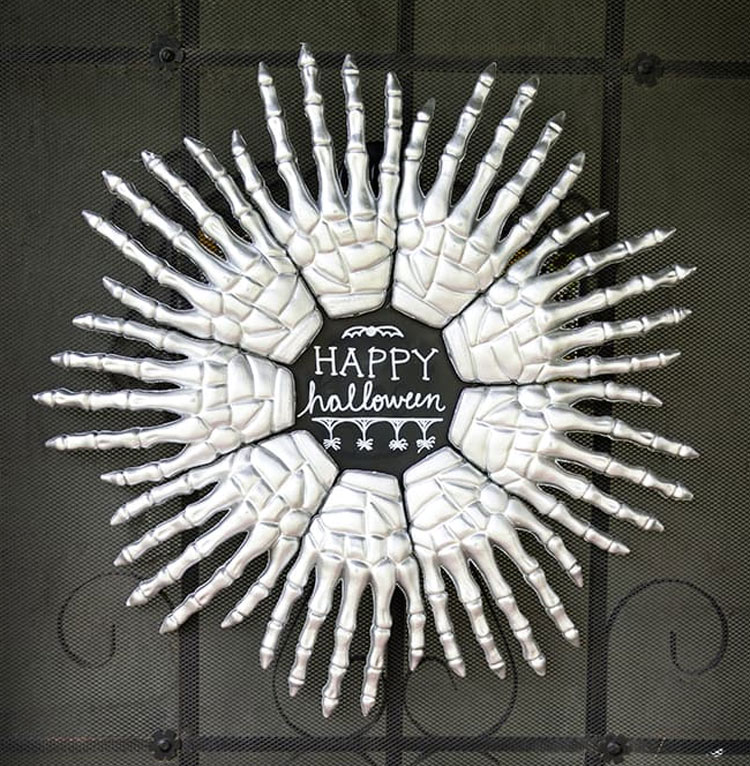 Skeleton Hands Halloween DIY Wreath