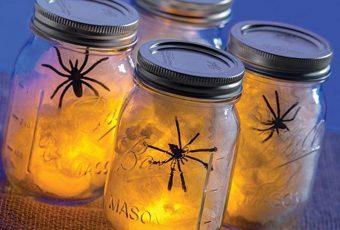 Spooky Spider Web in a Mason Jar