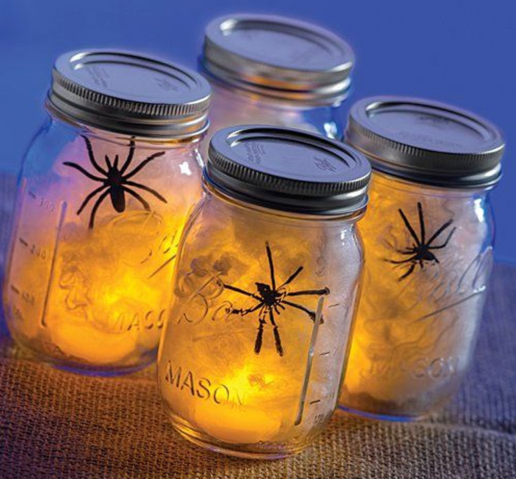 Spooky Spider Web in a Mason Jar