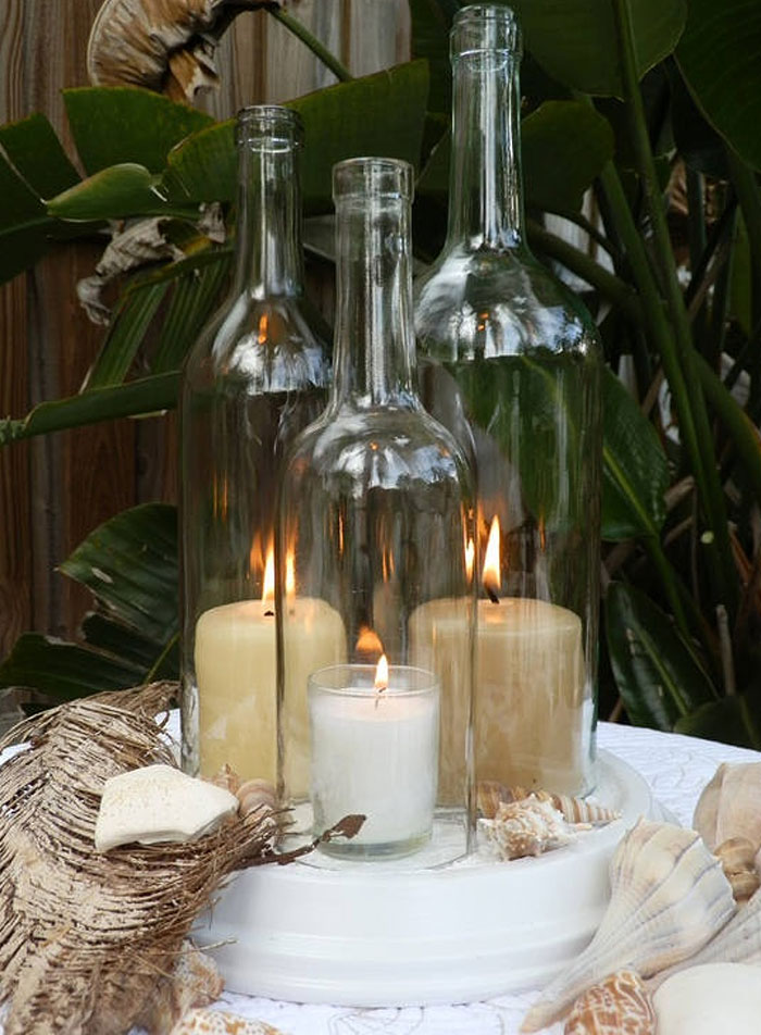 Wine Bottle Candle Centerpiece