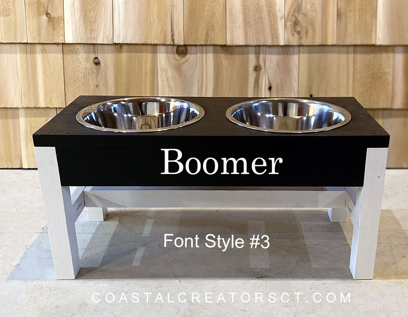 Personalized Wood Dog Bowl Stand