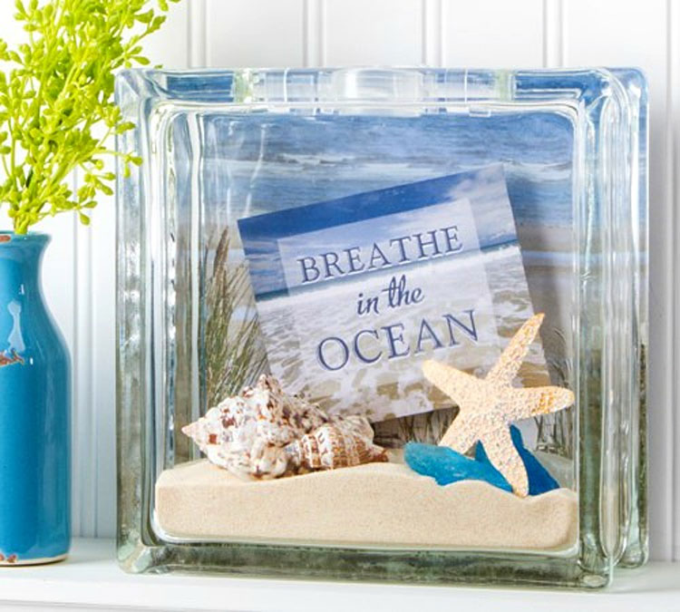 DIY Beachy Glass Block
