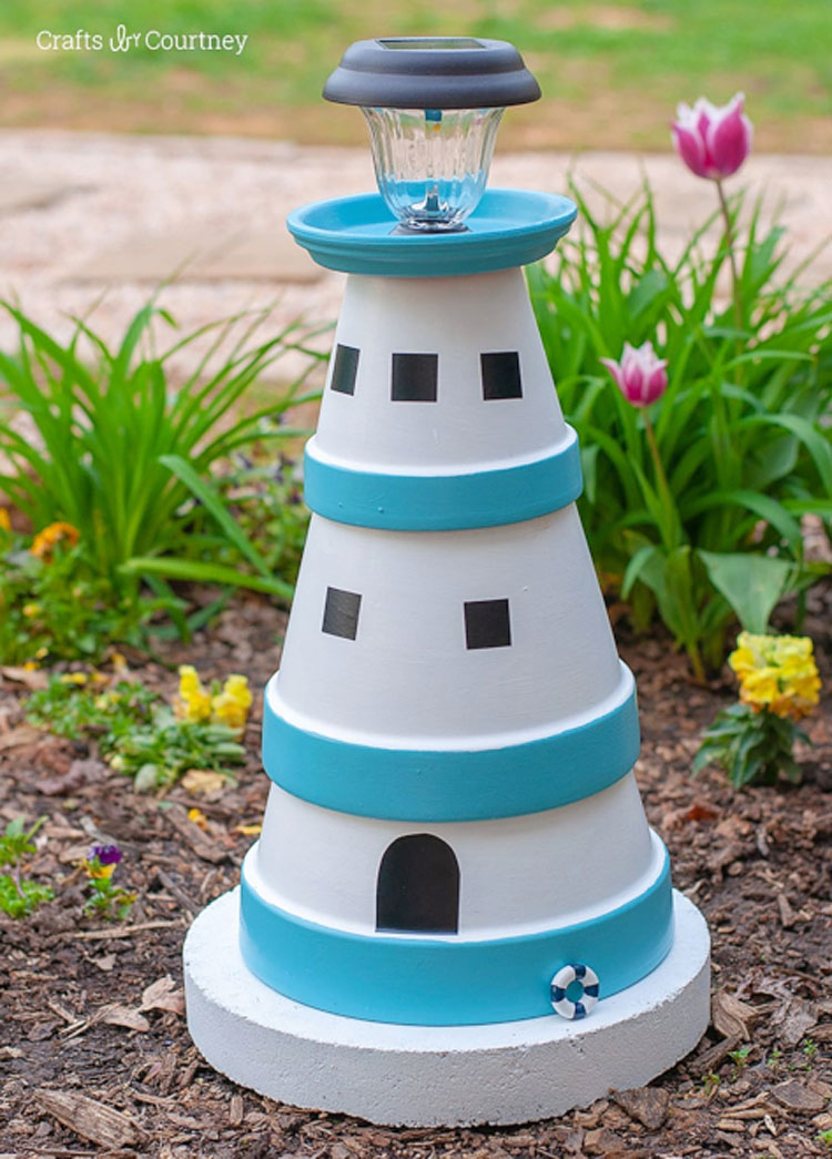Clay Pot DIY Lighthouse Bird Feeder