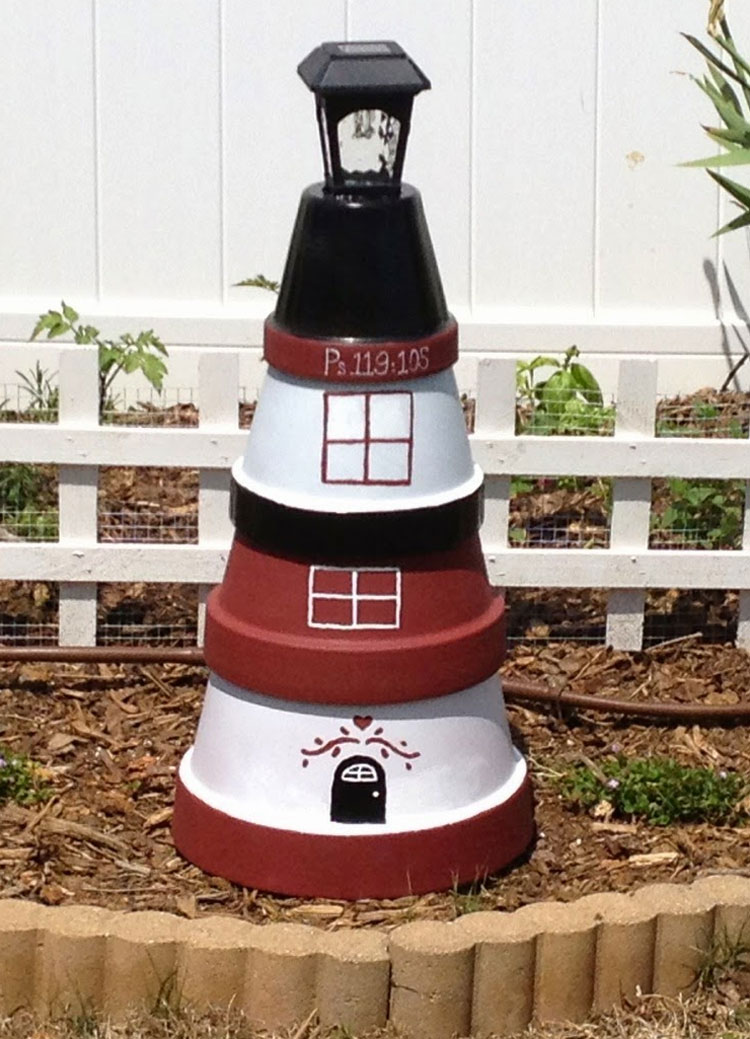 Clay Pot DIY Lighthouse Bird Feeders