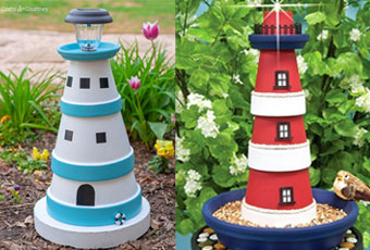 DIY Clay Pot Lighthouse Bird Feeders